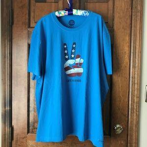 Life is Good American Flag w/Peace Hand Tee 3X